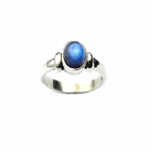 Rainbow Moonstone Ring Silver Detail Band Vertical Oval